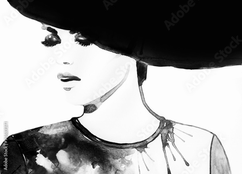 Beautiful face. woman portrait with hat. abstract watercolor .fashion background © Anna Ismagilova