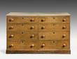 Old original vintage wooden pine painted bureau, chest