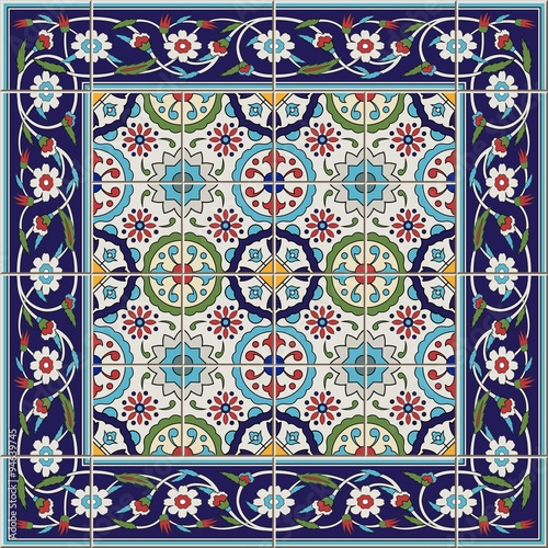Seamless  pattern Tles and border. Moroccan, Portuguese,Turkish, Azulejo ornaments.