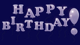 The inscription Happy Birthday of colorless transparent balloons, isolated on a dark background. poster