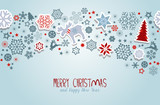 Merry Christmas. Blue Christmas vector elements.