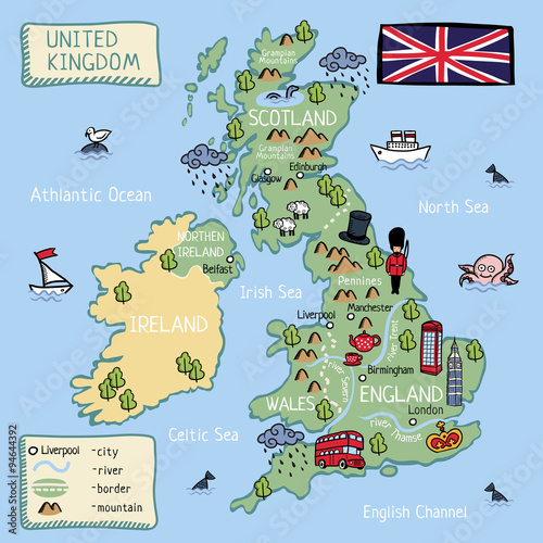 Kids Map Of England.Cartoon Map Of United Kingdom For Kids Buy Photos Ap Images