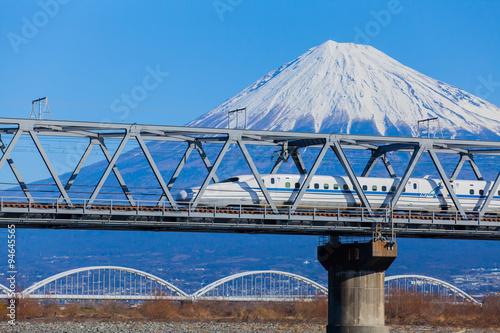 View of Mt Fuji and Tokaido Shinkansen, Shizuoka, Japan.. Poster