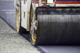 Fototapety Heavy Vibration roller compactor at asphalt pavement works for road and highway construction