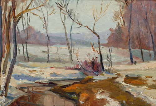 Plakat Beautiful Original Oil Painting of Winter landscape flowing river snow around the trees On Canvas
