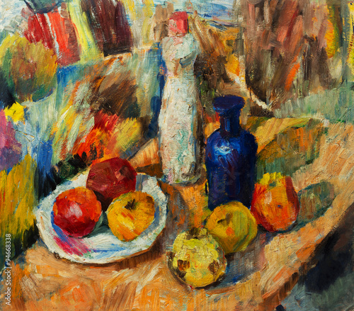 Obraz na Szkle Beautiful Original Oil Painting of Still Life vase apples bright colors Red Orange Green On Canvas