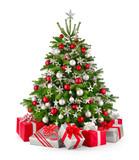 Fototapety Christbaum und Geschenke in Rot und Silbergrau