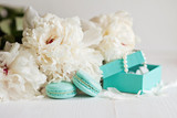 Fototapety Tiffany blue macarons with peony and gift boxes