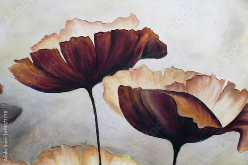 Poppy abstract painting - 94677778