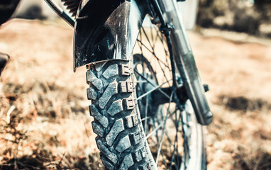 Closeup photo of offroad motor bike outdoor © bedya