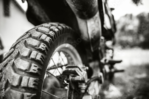 Closeup photo of offroad motor bike outdoor