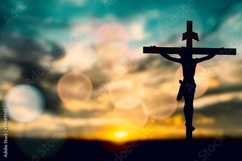 Silhouette of Jesus with Cross over sunset concept for religion, Poster