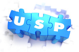USP - White Word on Blue Puzzles. poster