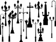 set of sixteen black street lamps collection