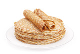 Stack of pancakes on a plate, white background