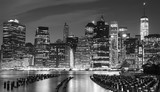 Black and white photo of Manhattan waterfront, NYC, USA.