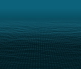 Water Surface. Wavy Grid Vector Background