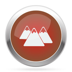 White Mountain icon on red web app button