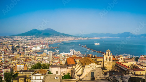 Foto op Canvas Mediterraans Europa City of Naples (Napoli) with Mt Vesuvius at sunset, Campania, Italy
