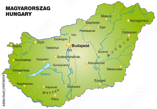 Karte von Ungarn Poster
