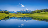 Idyllic summer landscape with mountain lake and Alps