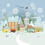 Fototapety Cute winter cityscape. Merry Christmas.