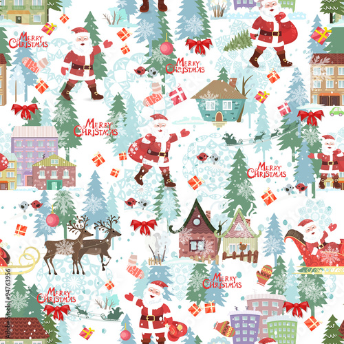 Cotton fabric Cute seamless texture with Merry christmas lettering and winter