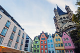 Great St. Martin Churchand and colorful houses of Cologne