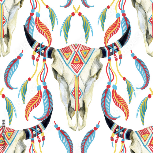 watercolor cow skull - 94765308