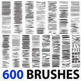 Fototapety Very large collection or set of 600 artistic black paint brush strokes