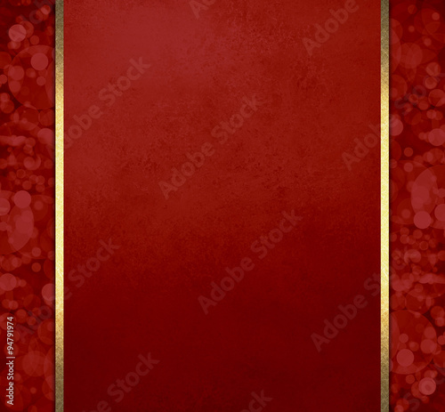 luxury red christmas background with gold ribbon stripes and bokeh lights pattern sidebars elegant formal - Red Christmas Background