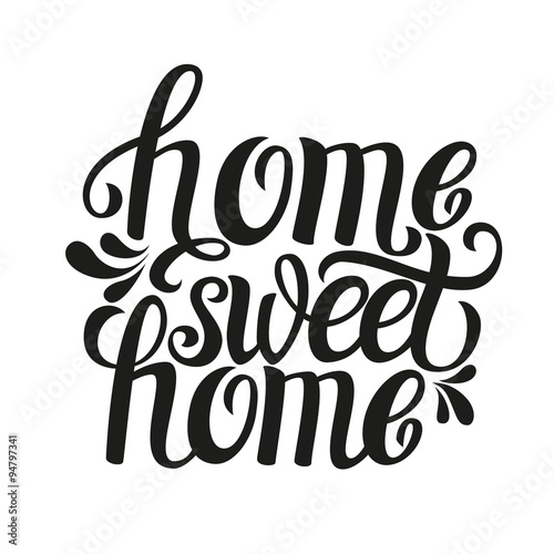 Plakát Hand lettering typography poster 'Home sweet home'
