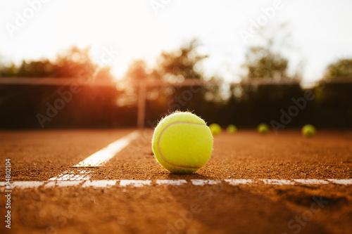 Tennis ball inside service box