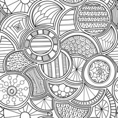 Zentangle style circles seamless pattern. Doodle black and white abstract vector background.
