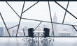 A meeting room in a bright contemporary panoramic office space with New York city view. The concept of highly professional financial or legal services. 3D rendering.