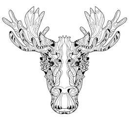 Ornamental head of elk layered vector illustration