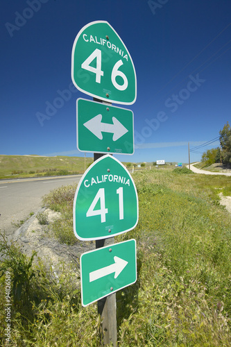 Poster The intersection of California State Highways 46 and 41, the intersection where