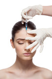 Woman gets collagen injection poster