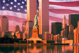 Fototapety Digital composite: New York skyline, American flag, World Trade Center, Statue of Liberty