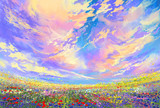 Fototapety landscape painting,colorful flowers in field under beautiful clouds