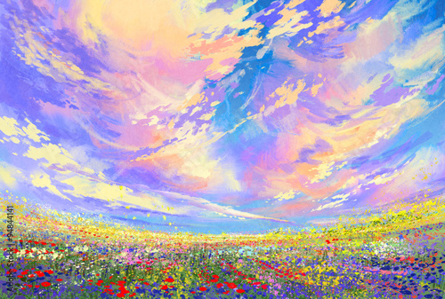 landscape painting,colorful flowers in field under beautiful clouds плакат