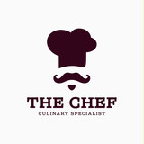 Fototapety chef cook logo icon toque, chefs hat vector trend flat style brand mustache beard stylinga