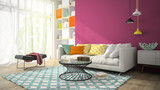 Fototapety Interior of modern design room with purple wall 3D rendering 3