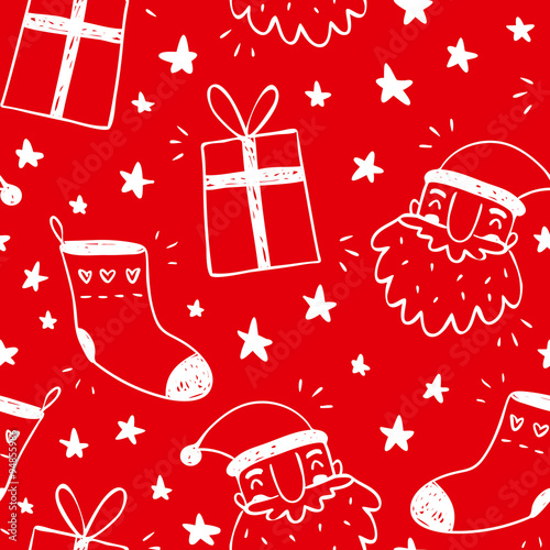 Materiał do szycia Sketchy vector seamless pattern with Santa Claus, socks and gifts