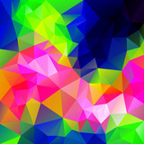 vector polygonal background with irregular tessellations pattern - triangular design in infra neon colors - full color spectrum poster