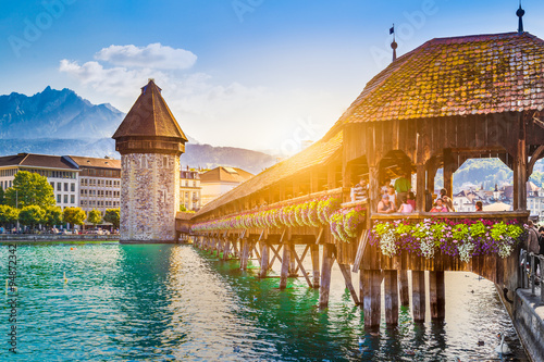 Historic town of Luzern with Chapel Bridge at sunset, Switzerland Poster