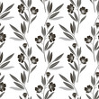 Monochrome  seamless pattern of abstract flowers. Floral vector illustration
