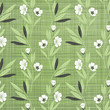 Seamless pattern with abstract flowers and leaves.