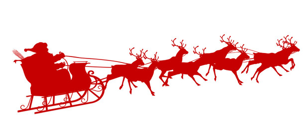 Vektor: Rote Vektor Silhouette vom fliegenden Weihnachtsmann mit ...