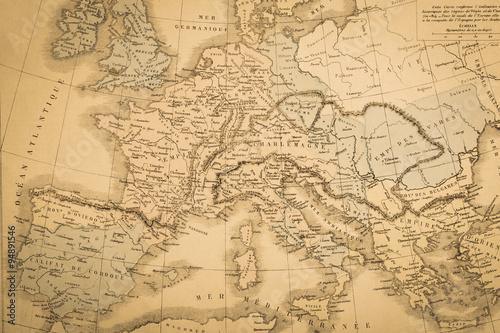 Poster アンティークの世界地図 ヨーロッパ